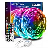 Daybetter Led Strip Lights 32.8ft with 44 Keys Ir Remote and 12V Power Supply Flexible Color Changing 5050 RGB 300 LEDs Light Strips Kit for Home, Bedroom, Kitchen, DIY Decoration