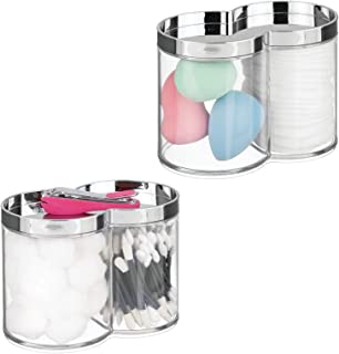 mDesign Plastic Bathroom Vanity Countertop Canister Jar Recessed Storage Lid - Stackable, Divided, 2 Compartment Organizer...