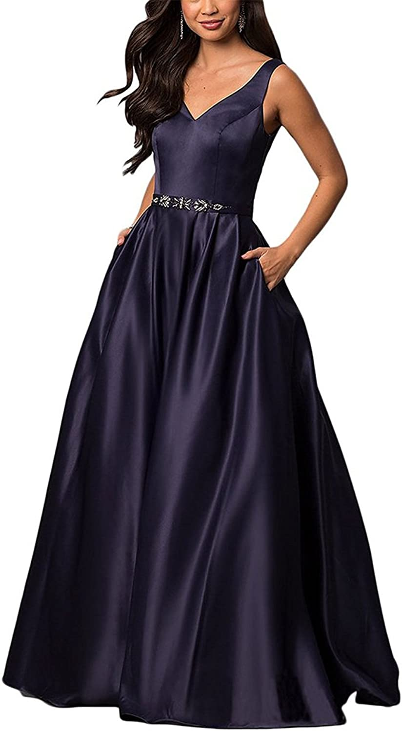 LL Bridal Women's Spaghetti Strap V Neck Prom Dresses 2018 Long Formal Evening Party Ball Gown LLP108