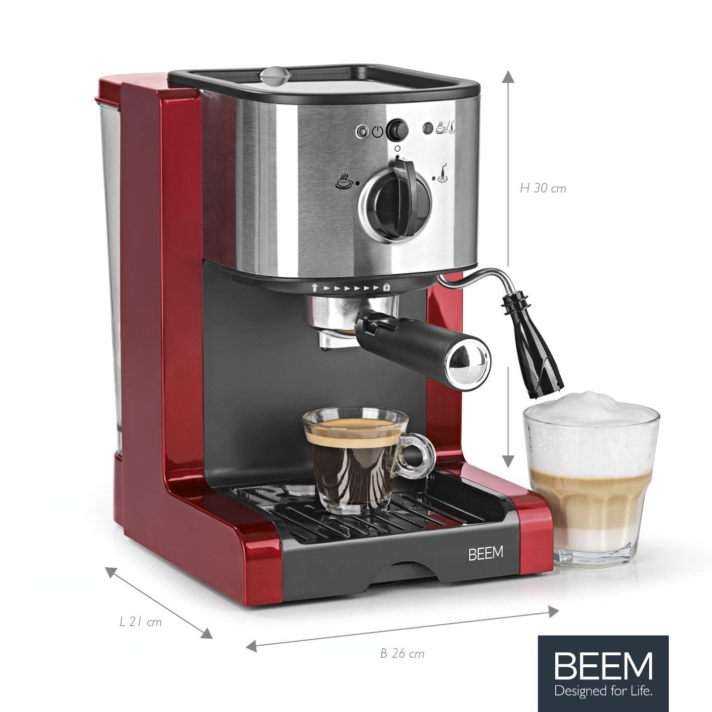 Cafetera Beem 02051 Espresso Perfect | Cafetera expreso para café molido (1350 W, 15 bares) | Expreso, capuchino, Latte Macchiato, crema XXL, café expreso largo | Color rojo metálico: Amazon.es: Hogar