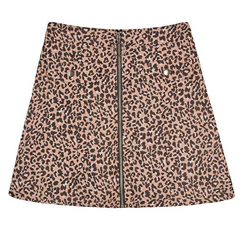 Amy Byer Girls' Zipper Front Pencil Skirt, Blush/Black Woven Leopard, M