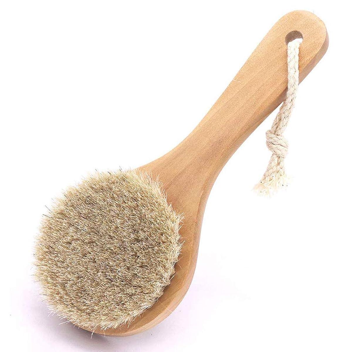 ローラートレーニング送る馬毛ボディブラシ 木製 短柄 足を洗う お風呂用 体洗い 女性 角質除去 柔らかい 美肌 馬毛ボディブラシ