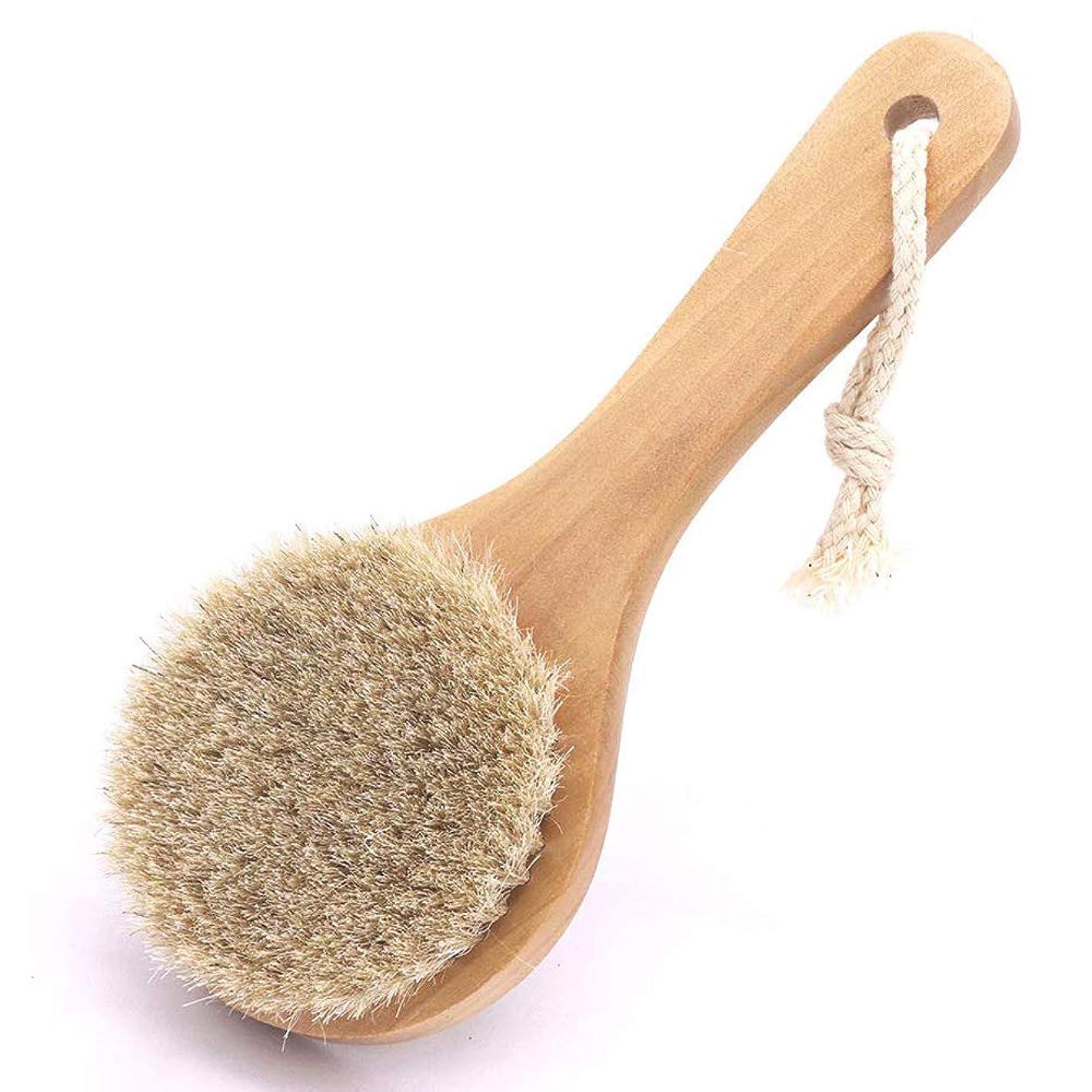 壊滅的なコンクリート識字馬毛ボディブラシ 木製 短柄 足を洗う お風呂用 体洗い 女性 角質除去 柔らかい 美肌 馬毛ボディブラシ