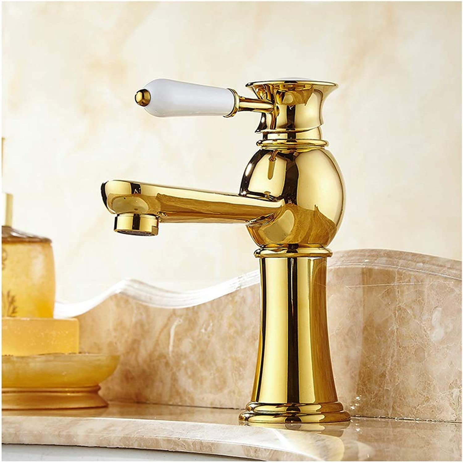 HARDY-YI Water-tap Faucet-wash Basin gold Single Hole Hot And Cold Water Faucet Basin Copper Faucet Water Mixing Valve Water Tap -184 Faucet