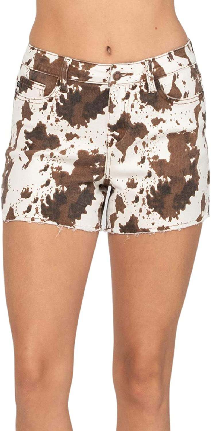 Judy Blue Cow Print Shorts Shorts for Summer! Soft and Stretchy! (Style: 150021)