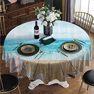 PINAFORE-HOME Round Oilcloth Tablecloth, Sunshine Maldives Deck Waterproof Heavy Duty Farmhouse Tablecloth for Coffee Table Diameter - 63 Inch