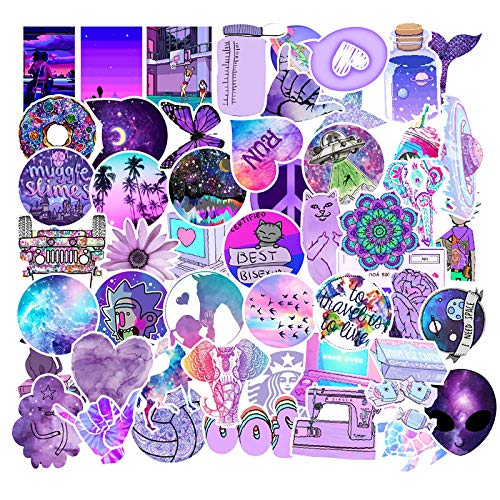 HUNSHA 50 piezas de púrpura pequeño graffiti fresco pegatinas vapor refrigerador ordenador portátil agua taza pegatinas impermeable al por mayor