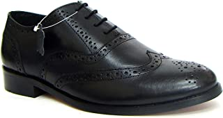 ASM Genuine Leather Formal Black Brogue Shoes with Leather Upper, Leather Insole, Fully Leather Lining, TPR Sole and Memory Foam Cushioning for Men.