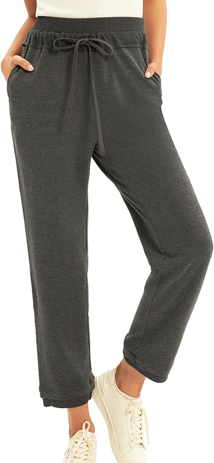 GRACE KARIN Women's Casual Trousers Drawstring Waist Ankle Pants with Pockets