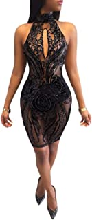 Women's Sexy Halter Backless See Through Sequins Floral Club Bodycon Mini Dress