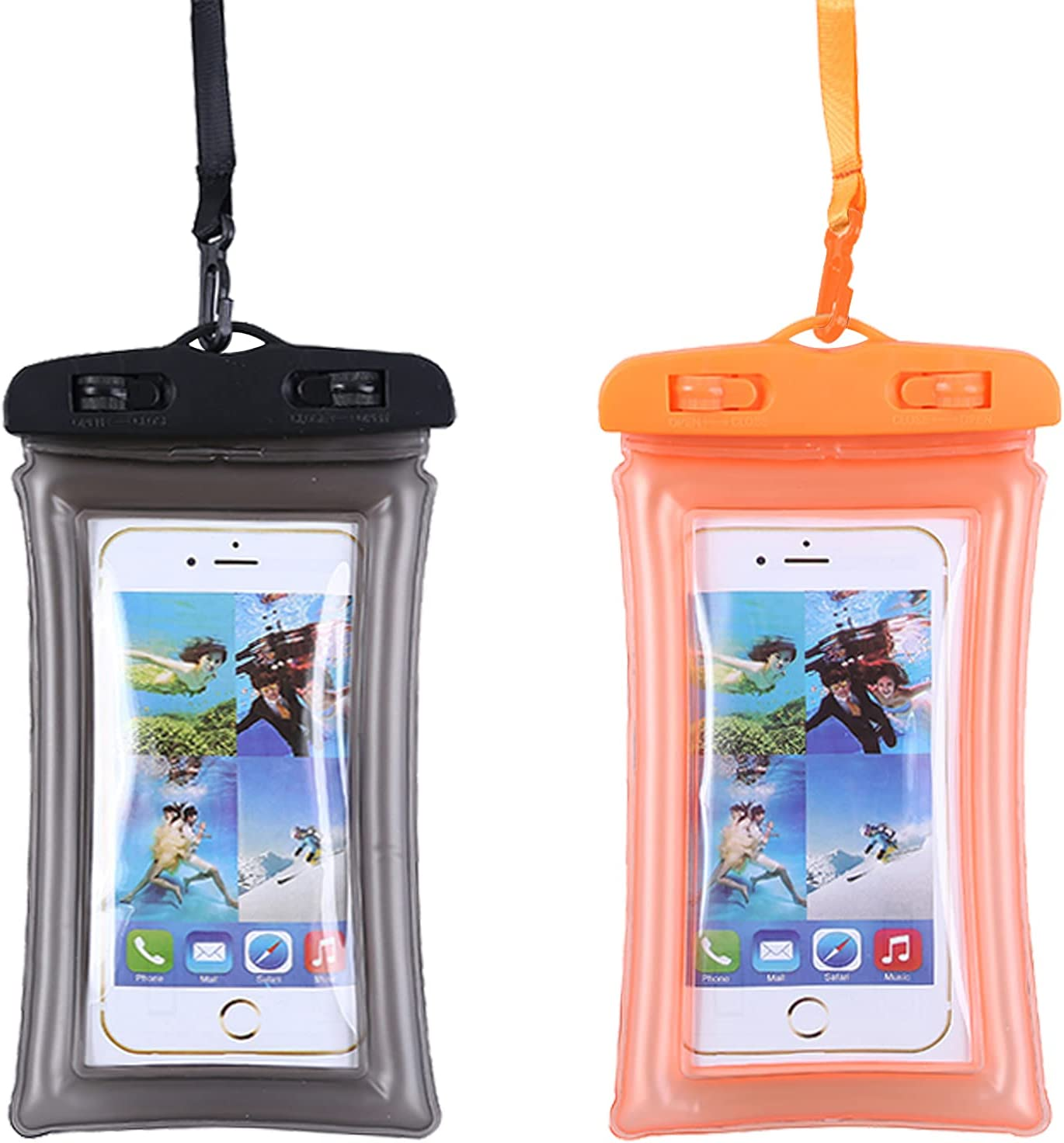 """Waterproof Phone Pouch Floating, TIGERMILLION 2-Pack Floating Cell Phone Dry Bag Up to 6.5"""", IPX8 Phone Waterproof Bag Compatible with iPhone 12/12 Pro/11/11 Pro/X, Galaxy S9/S10, Google Pixel, LG…"""