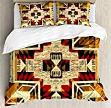 Ambesonne Arrow Duvet Cover Set, Inspired Pattern Graphic Design Abstract Art with Earth Tones, Decorative 3 Piece Bedding Set with 2 Pillow Shams, Queen Size, Cream Merigold