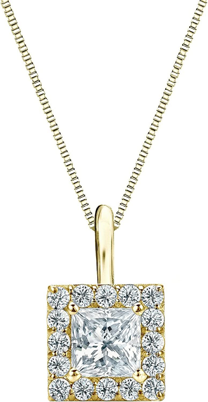 18k Yellow Gold Halo Princess-Cut Diamond 2 ctt Pendant 1 NEW before selling ☆ Gifts 4-1
