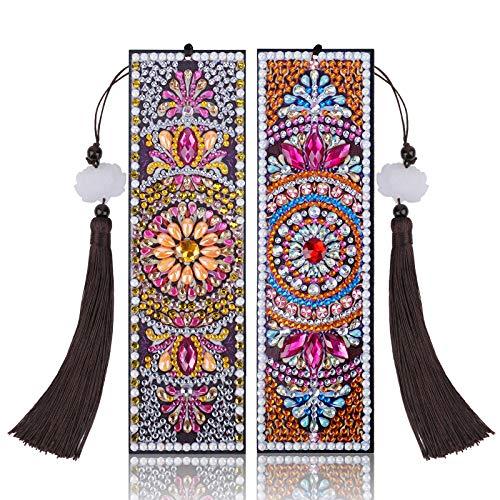 VETPW 2 Pezzi 5D Mandala Diamond Painting Bookmark, Segnalibro Pittura Diamante DIY per Regalo di Compleanno di Laurea, Kit Segnalibro in pelle Pittura Diamante Fai Da Te con Napp