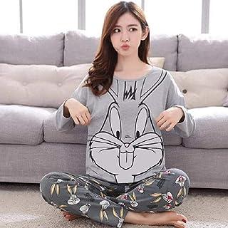 Wenhua Pajamas Mujer, Pijamas de Manga Larga con Cuello Redondo de Dibujos Animados para Damas, Bugs Bunny_XXL, Pijamas Mujer Verano Largo del Pijamas Pantalones