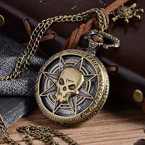 FGHFDX Taschenuhr Vintage Bronze Steampunk Quarz Taschenuhr Halloween Karibik Piraten Schädel Kopf Horror mit Kette für Männer Anhänger Halskette