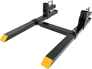 """YINTATECH 4000lbs Clamp on Pallet Forks 60"""" Heavy Duty Pallet Forks with Adjustable Stabilizer Bar for Loader Bucket Skidsteer Tractor"""