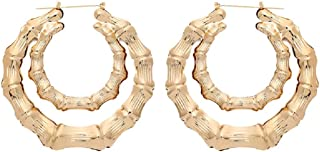 Bamboo Bone Geometric Circle Round Heart Hoop Earrings Rectangle Gold Tone For Women Statement Party Hip-Hop Jewelry