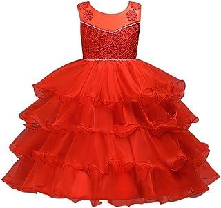 Zhhlinyuan ファッション Girls Organza Ruffle Lace Princess ドレス Kids Party Pageant Wedding Bridesmaid Tutu Dresses
