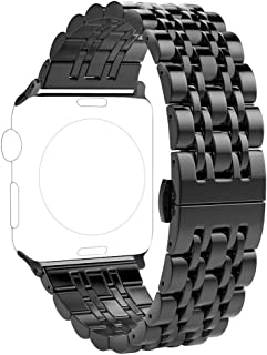 PUGO TOP Compatible with Stainless Steel Apple Watch Band 42mm 44mm Series 5 4 3 2 1 Iwatch Link Band Wristband Loop for Men Women (42/44mm, Matte Black + Glossy Black)