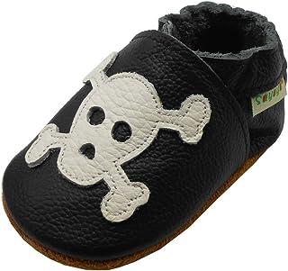 SAYOYO Chaussures bébé en Cuir Doux Attacher Enfants Garçons Filles Chaussons Noir