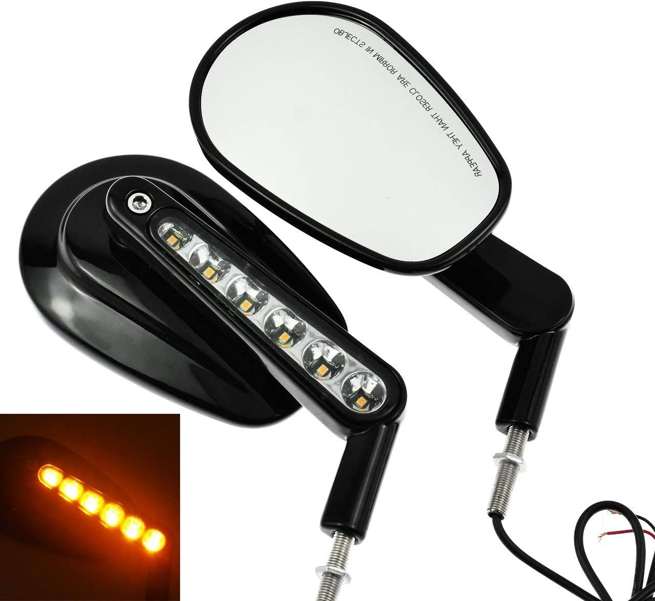 YHMTIVTU Motorcycle Oval Rear View Mirrors Turn S Max 51% Limited time sale OFF Front with LED