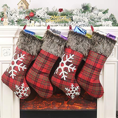 Limirro 4er Weihnachtsstrumpf Weihnachts Socken Geschenk-Socken Weihnachtsschmuck zum Befüllen und Aufhängen für Weihnachten Deko (Schneeflocken Rot)