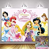 Disney Princess Backdrop 7x5ft Pink Baby Shower Backdrop for Girl 1st Birthday Photography Background Princess Birthday Party Supplies Table Decoration Banner Customized Backdrops