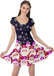 Womens Winter Christmas Tree Santa Deer Xmas Vintage Snowman Short Sleeve Dress, XS-5XL