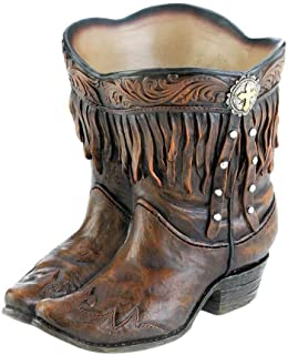 SRW1961 Planter Fringed Cowboy Boot Brown with Western Medallion