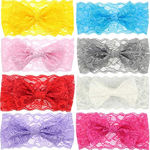 8Pcs Lace Bow Headband Soft Elastic Flower Bow-knot Hair Band Hair Band Accessories for Newborn Infant Toddler Baby Girl