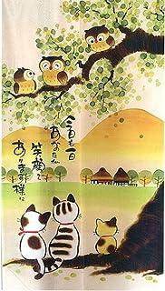 """Cortina de puerta japonesa Noren para decoración del hogar, de LIGICKY, tela poliéster, Búhos y Gatos, 33.5""""x 59"""""""