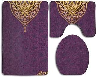 CoolToiletLidCoverCC Eastern Oriental Royal Palace Patterns Bohemian Style Art Traditional Wedding Purple Gold Bathroom Rug 3 Piece Bath Mat Set Contour Rug Lid Cover