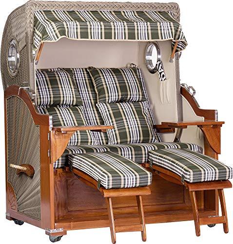 foolonli Strandkorb Luxus 2,5 Sitzer aufgebaut grün weiß gestreift mit Bullauge Mahagoni Holz XXL
