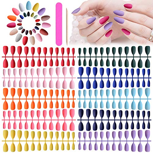 720 Pcs Short Stiletto Press on Nails, Kalolary Matte Almond Artificial Full Cover False Nails Solid Pure Color Acrylic Fake Nails Art Tips Set with Nail File Wood Nail Sticks Stiletto Press on Nails for Women and Girls