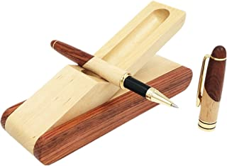 Best Wooden Gel Pen Gift Set with Handmade Rollerball Pen Holder Box and Refills, Business Ballpoint Pen with Fancy Pen Display Case
