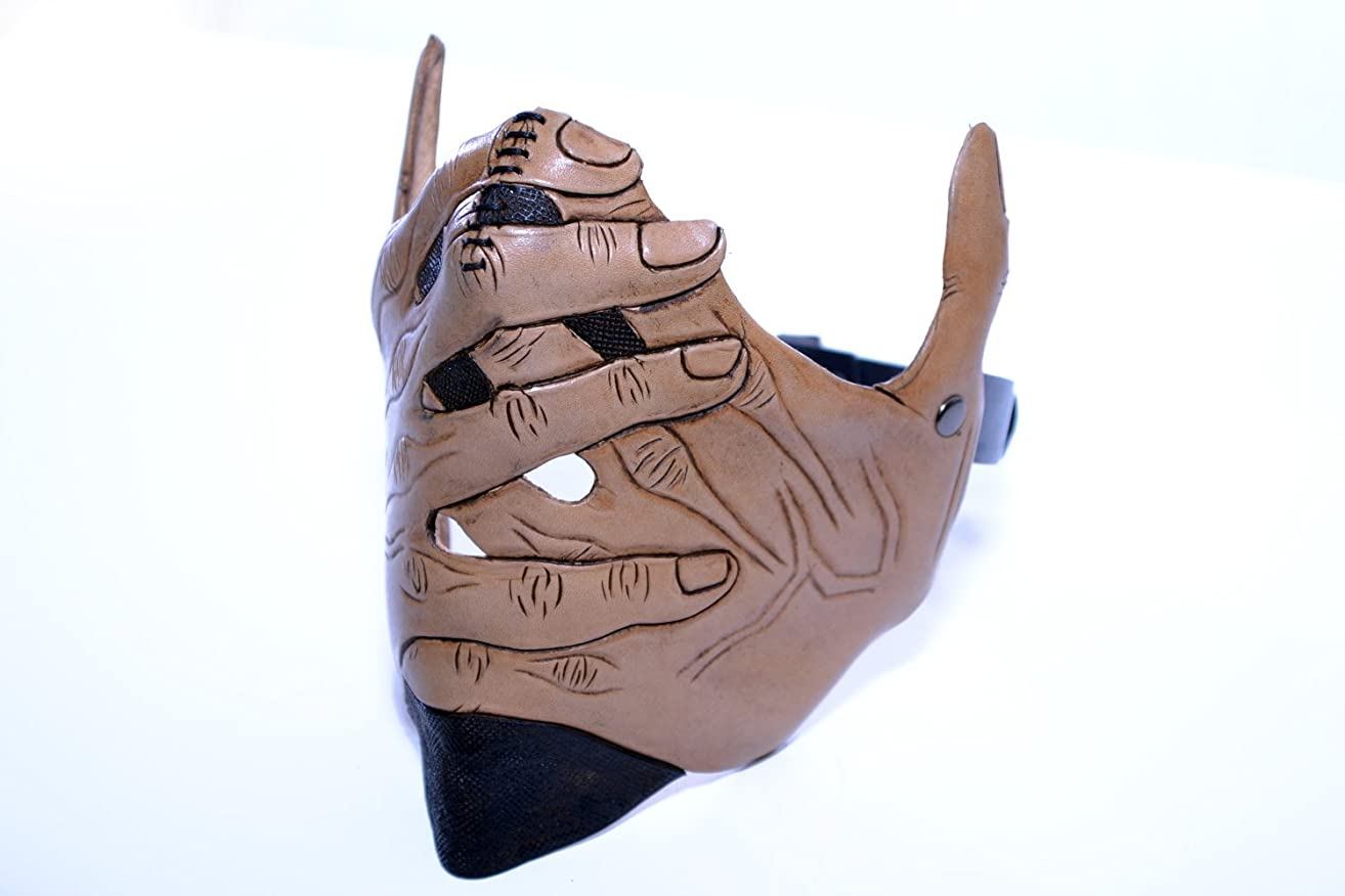 Speak No Evil - Men's Hands - One Size Fits All Handmade Genuine Leather Riding Mask for Masquerades Halloween Cosplay Lower Mouth Mask