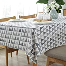 Amzali Triangle Pattern Tablecloth Geometric Series Cotton Linen Dust-Proof Table Cover for Kitchen Dinning Tabletop Home Decor (Square 55 x 55 Inch)