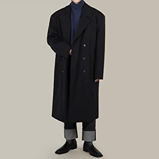 Long Suit Collar Coat Loose Double-Breasted Woolen Trench Coat High Quality (Color : Black)
