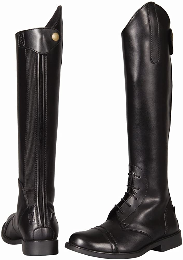 TuffRider Children's Starter Back Zip Field Boots in Synthetic Leather, Black, 13 Regular Wide