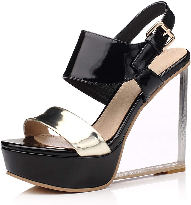 sommar Sandals High High High klackar Party skor Bohemia kvinnor skor läder Sandals Lady Plus Storlek 33 -40  klassiskt mode