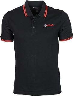 Lambretta Mens Twin Tipped Short Sleeve Pique Polo Shirt - Black/Red - M