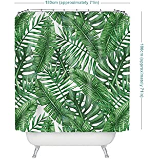 Tropical Plants Banana Leaves Bathroom Curtains, 100% Waterproof and Mildew, With 12 Shower Curtain Hooks