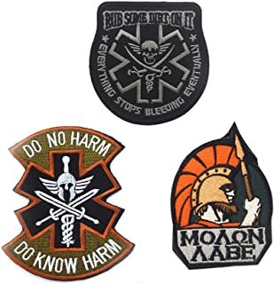 SOUTHYU 3 Pieces Spartan Molon Labe Tactical Military Morale Patches Emblem, Rub Some Dirt On It Medic Paramedic EMS EMT Embroidered Badge, Do No Harm Do Know Harm Hook and Loop Patch