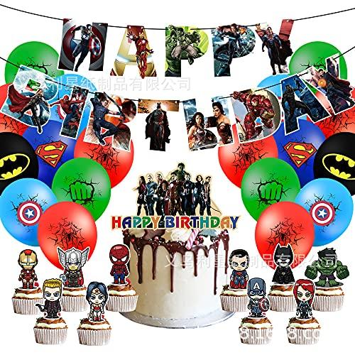 CYSJ Die Rächer Geburtstag Dekorationen 37 pcs Die Rächer Themed Geburtstag Dekorationen,Die Rächer Team Spider-Man Happy Birthday Banner, Superheld Cake Topper