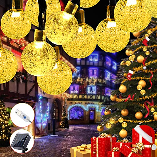 Guirnalda Luces Exterior Solar,Cadena de Luces USB Recargable con 60 LED Bola, 8 Modos de Luz y IP65 Impermeable, 8M Luz Navidad Para Exterior Y Interior Decoración para Jardín, Dormitorio,Fiestas