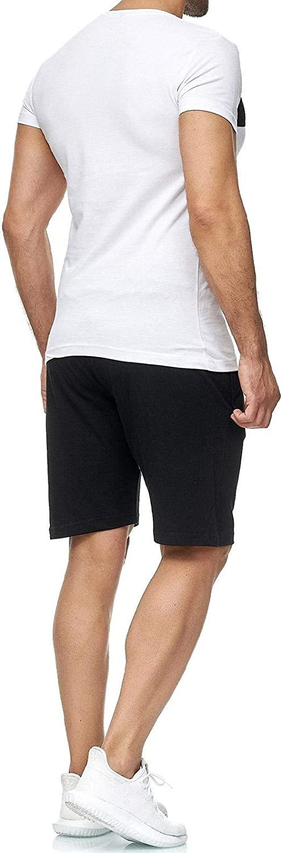 Superora 5 Piezas Conjunto de Ropa Deportiva Hombre Camisetas Pantalon Corto Deporte Ropa Secado R/ápido Traje Deportivo El/ástico Cremallera Suave Correr