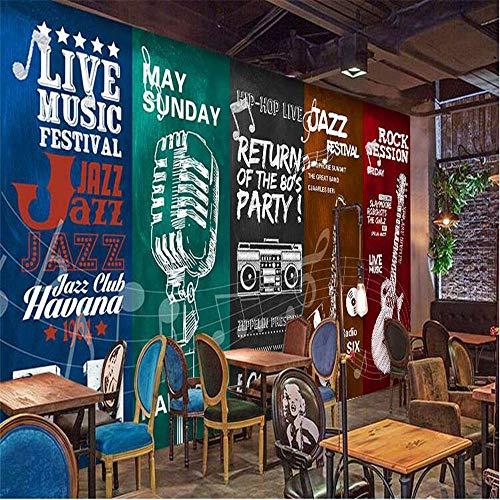 Fototapete Wandbild Hintergrund 3d TapetenBenutzerdefinierte Tapete 3d Europäische handgemalte Musikinstrumente Musikplakat Persönlichkeit Bar Café kreative 3D-Tapete-Über 150 * 105 cm
