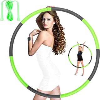 Hoola Hoops for Adults Weight Loss - Weighted Hoola Hoop,Jump Rope Weighted Exercise Hoola Hoops for Kids,Hoola Hoops Bulk,Professional Soft Fitness Hoola Hoops Skipping Rope - Detachable Design(Green