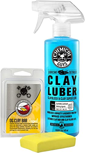 Chemical Guys CLY_113 OG Clay Bar & Lubber Synthetic Lubricant Kit, Light/Medium Duty (16 oz) (2 Items) , Yellow